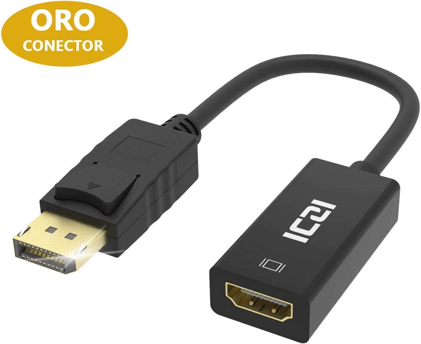 ICZI Adaptador DisplayPort to HDMI 1080P Conversor DP a HDMI con Contactos Chapados en Oro, DP Macho a HDMI Hembra para Pantallas Monitores HDTV Proyectores, etc, Negro