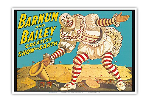 Barnum & Bailey Circus - Greatest Show on Earth - Clown Standing over Tents - Vintage Circus Poster c.1917 - Master Art Print - 13in x 19in
