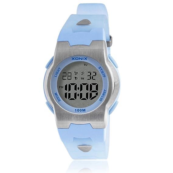 Niños reloj multifunción impermeable reloj digital chica luminosa boy-A: Amazon.es: Relojes