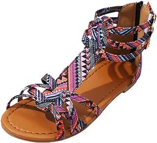 Femme Sandales,Femmes Bohême Sandales Sandales Style Ethnique Chaussures Flats Chaussures Sandales À Boucle,Chaussures Femme