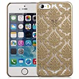 GreatShield® TACT Design Ultra Slim Fit [DAMASK Pattern] Protective Hard Rubber Coating Back Case Cover for Apple iPhone 5S / 5 (Gold)