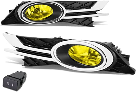 FOR 16 CIVIC FC YELLOW OE BUMPER DRIVING FOG LIGHT LAMP+BEZEL GRILL+SWITCH KIT