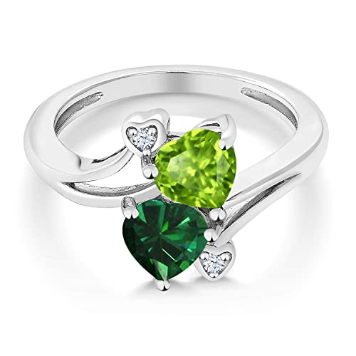 Gem Stone King 925 Sterling Silver Green Peridot and Green Simulated Emerald Ring 1.54 Ctw Heart Shape Available 5,6,7,8,9