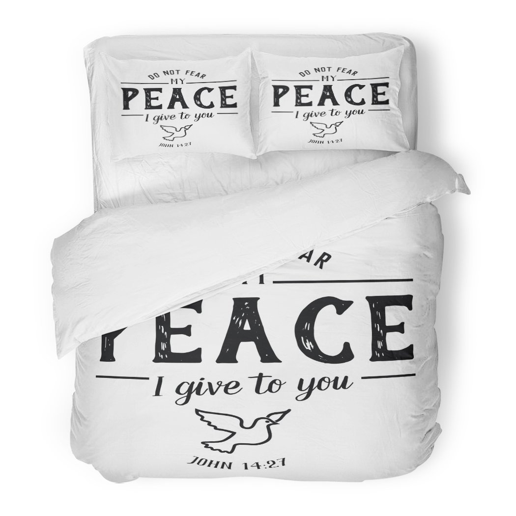 SanChic Duvet Cover Set Do Not Fear My Peace I Give to You Christian Hand Lettering Bible Scripture Emblem Dove from Book Decorative Bedding Set 2 Pillow Shams King Size