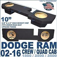 Dodge Ram Quad Crew Cab Truck 10 Sub Box Subwoofer Enclosure 02-15 Black 10 Dual Sealed Up Firing Enclosure
