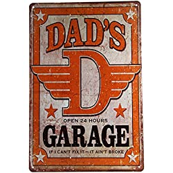 dingleiever DL-Dad's Garage Tin Metal Sign Decor Funny Humorous Daddy Father