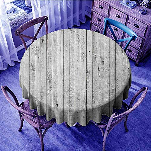 ScottDecor Grey and White Christmas Tablecloth Vertical Lined Wooden Board Background Black and White Tone Vintage Planks Picture Print Round Tablecloth Grey Diameter 36