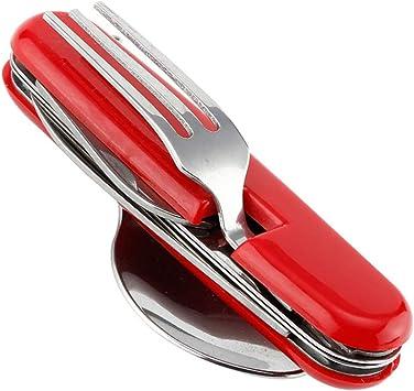Vajilla multiusos portátil 4 en 1 de acero inoxidable tenedor ...