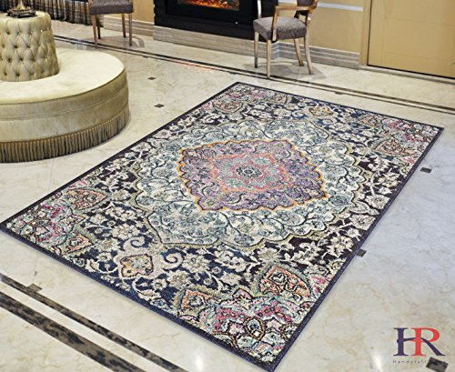 Persian Wool Vase - Faded Distressed Contemporary Vintage Persian Area Rug/Navy Blue/Multi