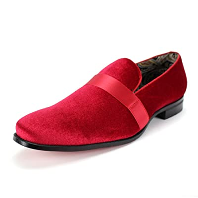 Amazon.com | AFTER MIDNIGHT 6660 Velvet Smoker Strap Smoking Slipper Loafer Slip on High Fashion Dress Shoe | Loafers & Slip-Ons