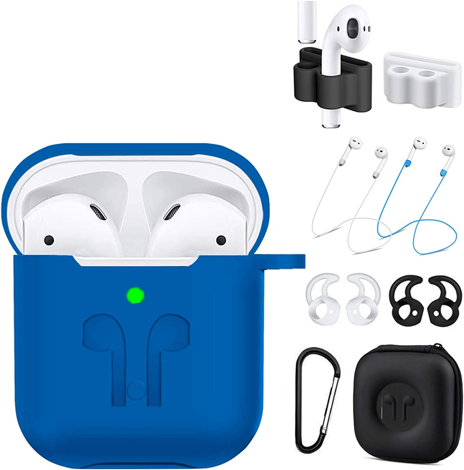 AirPods Case Cover Compatible Apple Airpods 2 & 1[Front LED Visible],9 in 1 Kits Airpods Accessories Set Protective Silicone Skin with Earpods Watch Band Holder/Ear Hook/Stap/Clip/Keychain/Grip