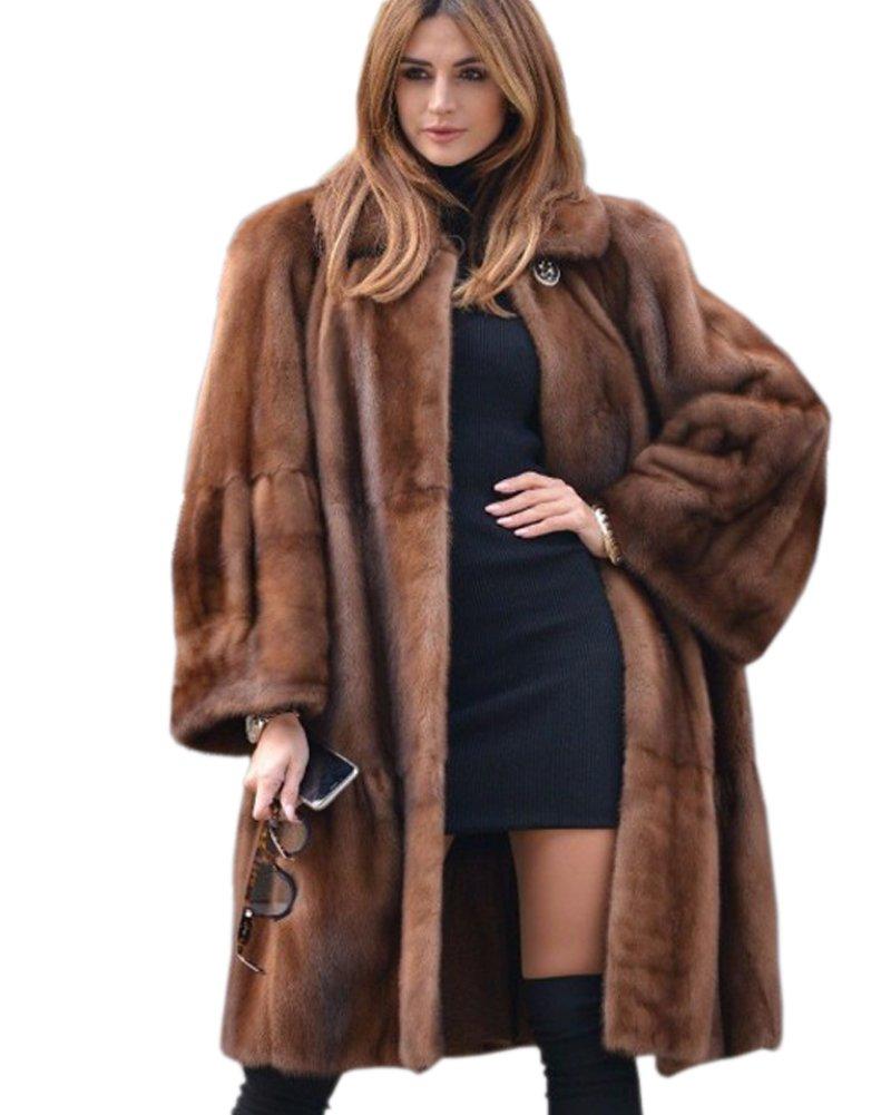 Aofur Luxury Faux Fur Parka Coat Long Lapel Trech Jacket Winter Outerwear Warm Overcoat Women Size S-XXXL (X-Large, Brown)