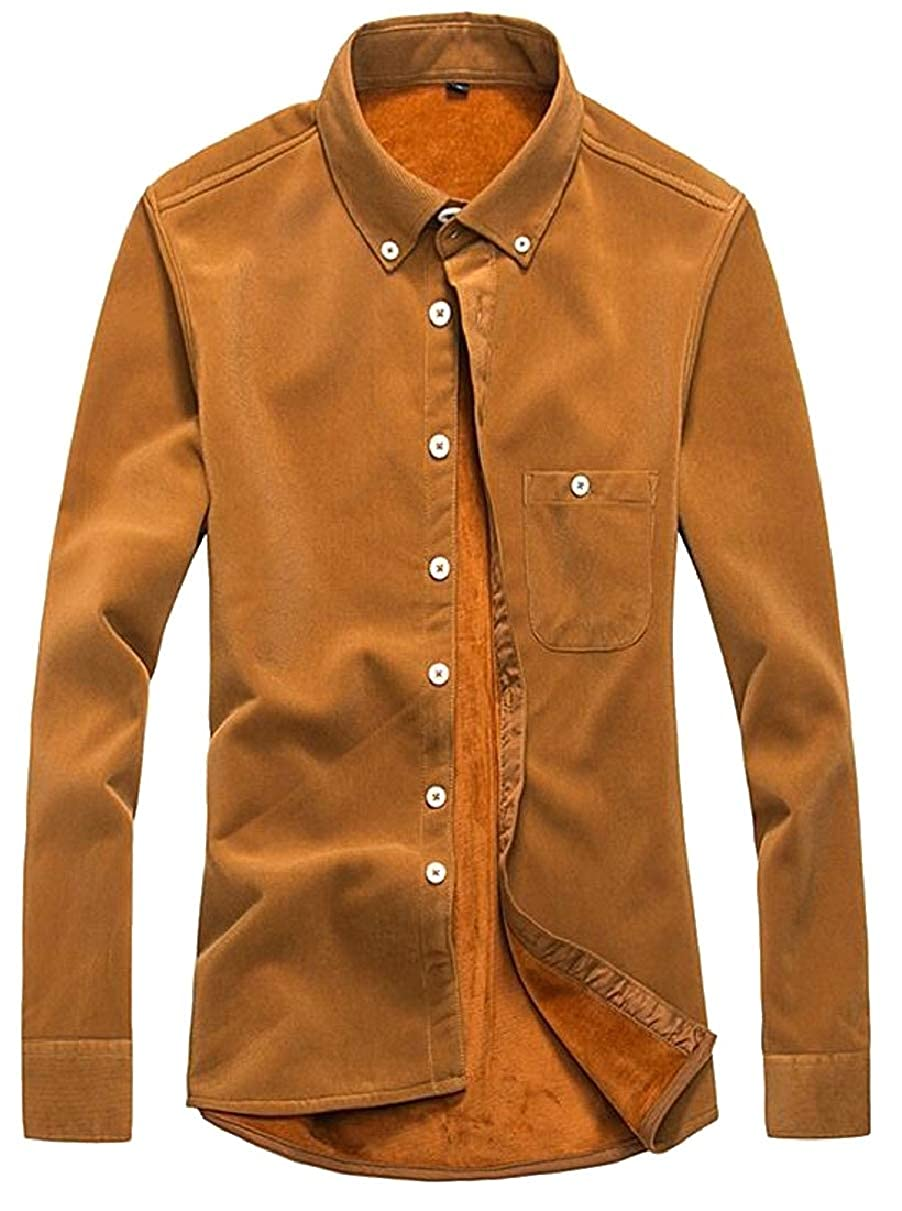 ZXFHZS Mens Long Sleeve Button Down Shirts Thicken Turn-Down Collar Shirts