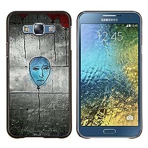 KLONGSHOP // Cubierta de piel con cierre a presión Shell trasero duro de goma Protección Caso - Dibujo Arte de la calle Azul Globo pared Grafiti - Samsung Galaxy E7 E700 //