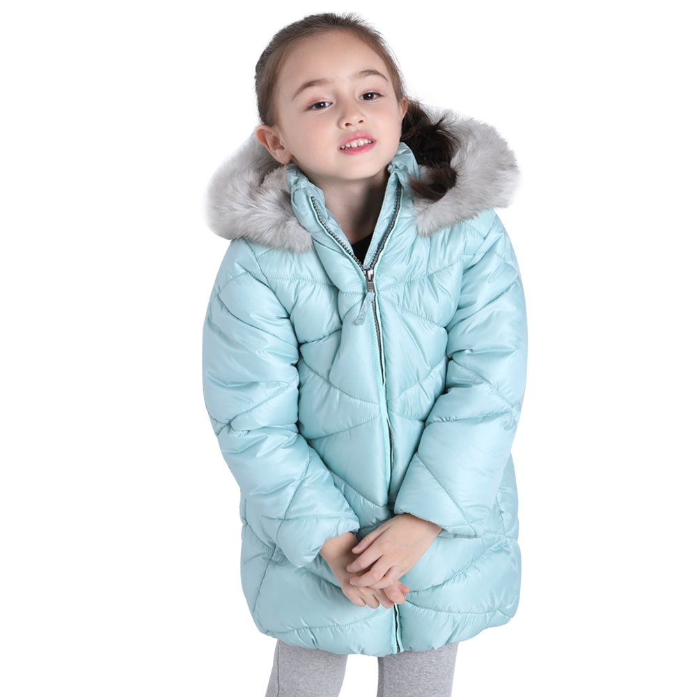 SOLOCOTE Pearl Color Cotton Coats For Girls Outwear Outdoor Waterproof Windproof Jacket With YKK Zipper (Green, 3-4 Year)
