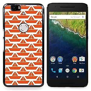 Pattern Orange White Ship Clean Caja protectora de pl??stico duro Dise?¡Àado King Case For Huawei Nexus 6P