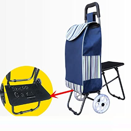 2 Wheel Foldable Shopping Cart with, Multifunction Trolleys for Large Capacity Supermarket Shopping , 1