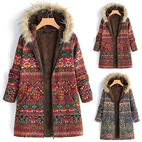 St.Dona Winter Hooded Coats for Women Loose Cotton Warm Printed Pockets Thick Hasp Hoodie Jacket Coat Outwear