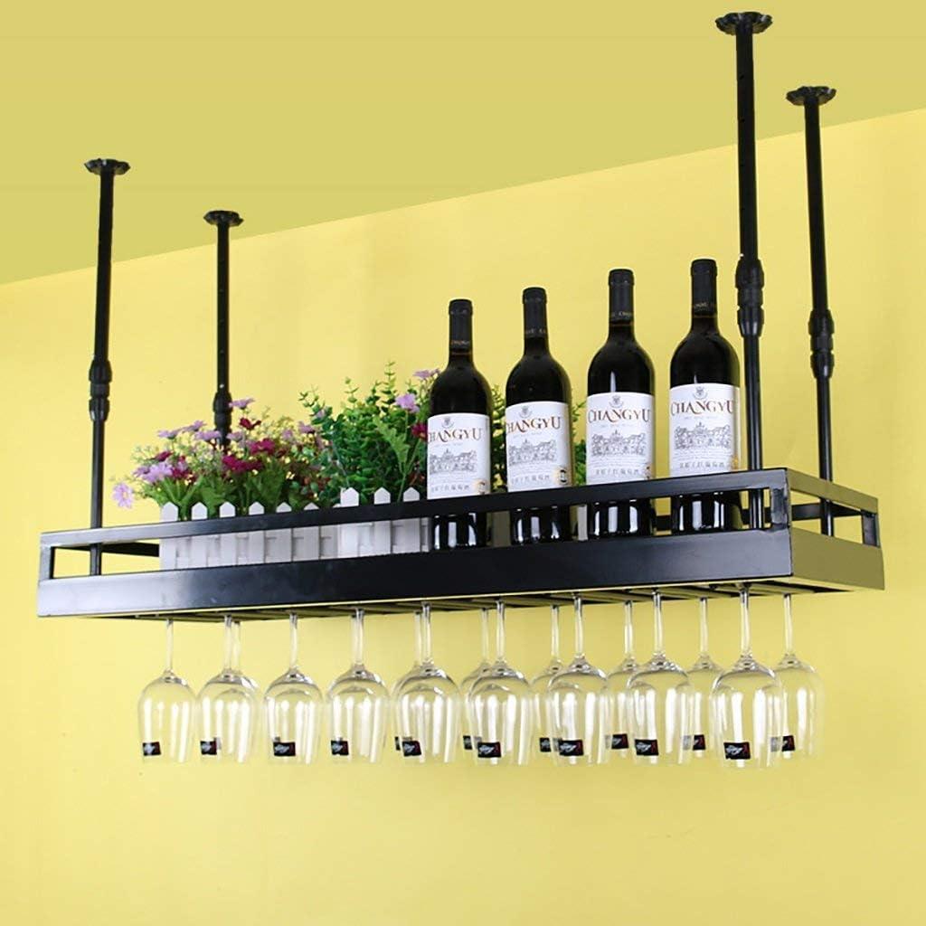 ヨーロッパワインラックバーバーシャンパングラスフレームレストラン逆さまゴブレットラック多機能フローティングシェルフ*(色:黒、サイズ:100x35cm)