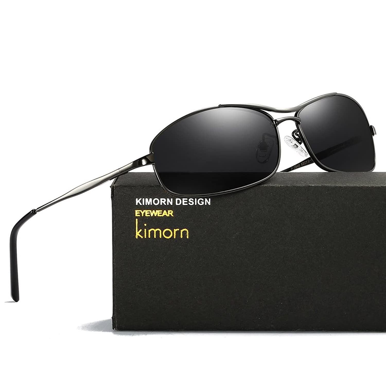 Kimorn Polarisé Lunettes De Soleil Hommes Rectangulaire Métal Cadre Des  lunettes K0559 (Or G15) 23049131a169