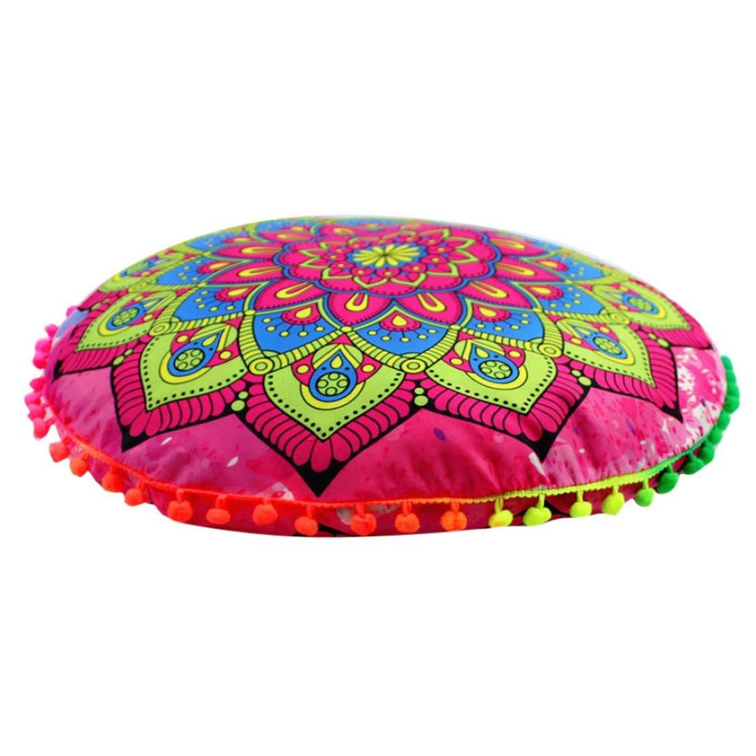 Deloito Indian Mandala Floor Pillows Round Bohemian Home Decor Cushion Cover (A, L)