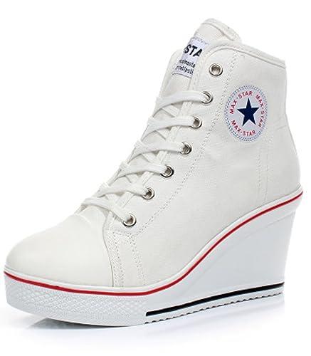 more photos 25efe 1e2d8 SSRSH Baskets Mode Compensées Montante Sneakers Tennis Chaussures Casuel  Toile Femme (35 EU, Blanc