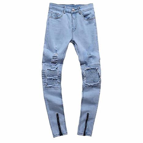 OHQJeans Da Uomo Jeans Strappati Da Uomo Slim Fit Jeans Vintage Da Moto  Pantaloni Hiphop Streetwear Jeans Alla Moda Pantaloni Di Denim (blu bdef79654f64