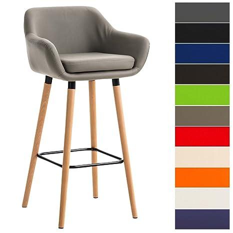 Clp Tabouret De Bar Grant Similicuir Chaise Haute De Bar Confortable Design Scandinave Tabouret De Bar Industriel Avec Dossier Et Accoudoir
