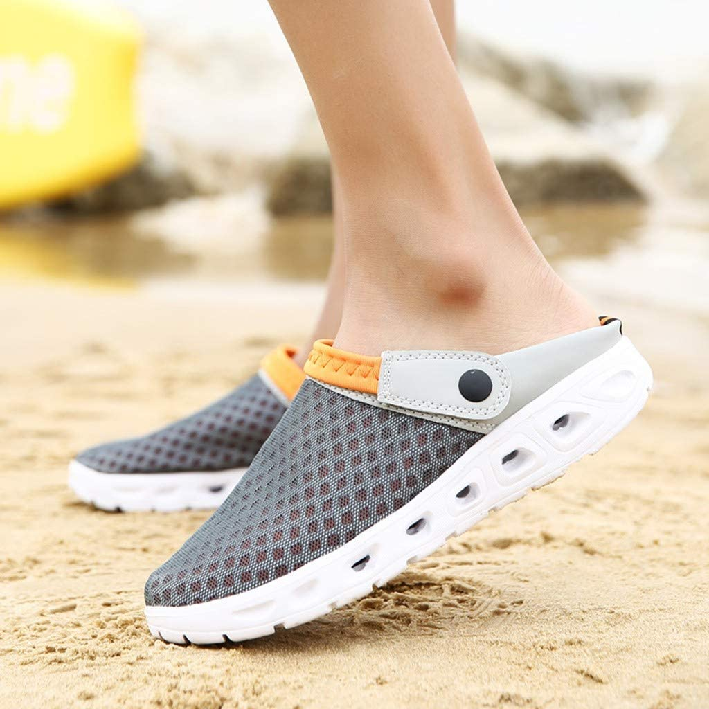 Dark Gray,45 Nebwe 2019 Summer Slippers Men Beach Mixed Color Sandals Hole Sports Shoes Mesh Breathable Fashion