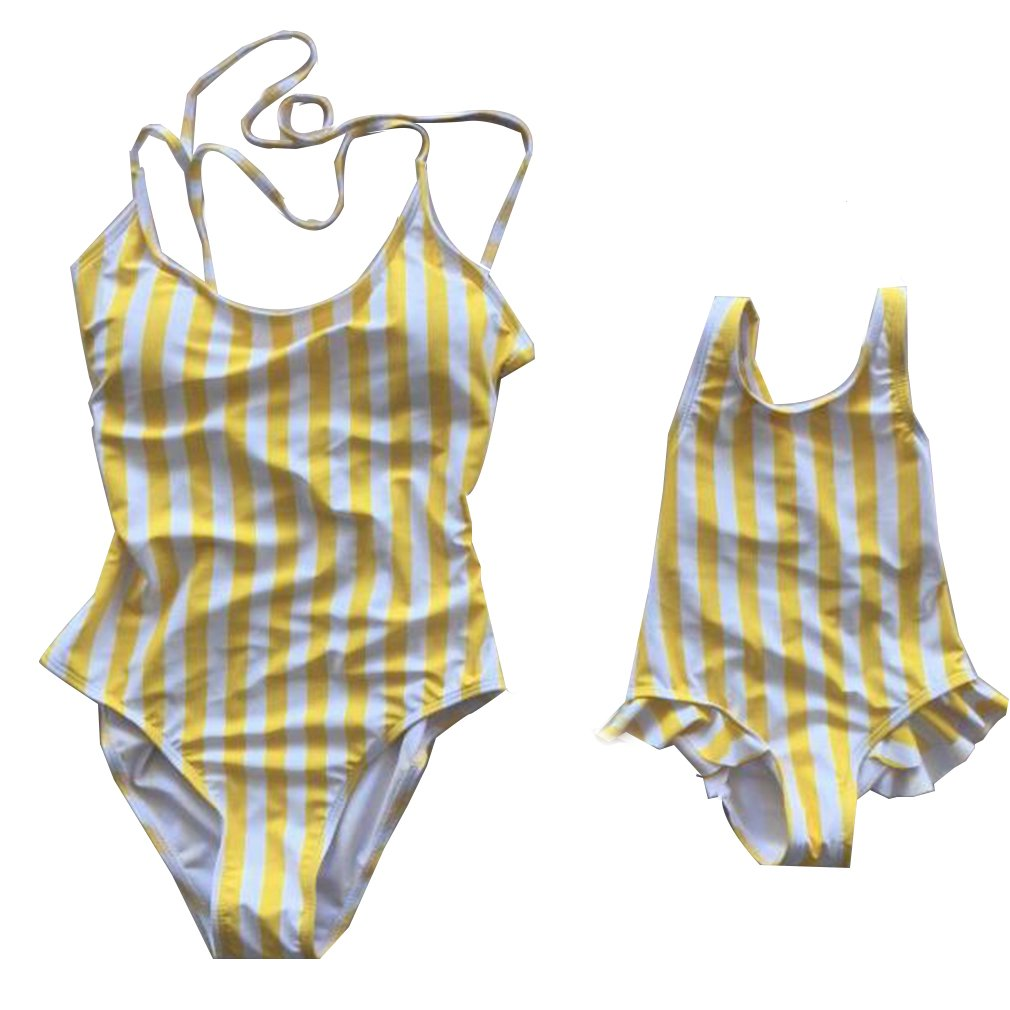 Family Matching Bikini Swimsuit Mommy and Me One Piece Beach Wear Yellow Stripes Monokini (Daughter/3-3.5 Years)