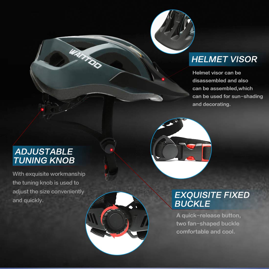 Wantdo Mens Bike Helmet Mountain Road Safety with Detachable Liner and Adjustable Strap