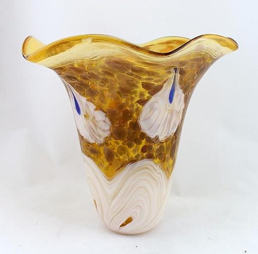 11 Hand Blown Glass Murano Art Style Vase Handkerchief Ruffle Fluted Amber Multicolor Italian