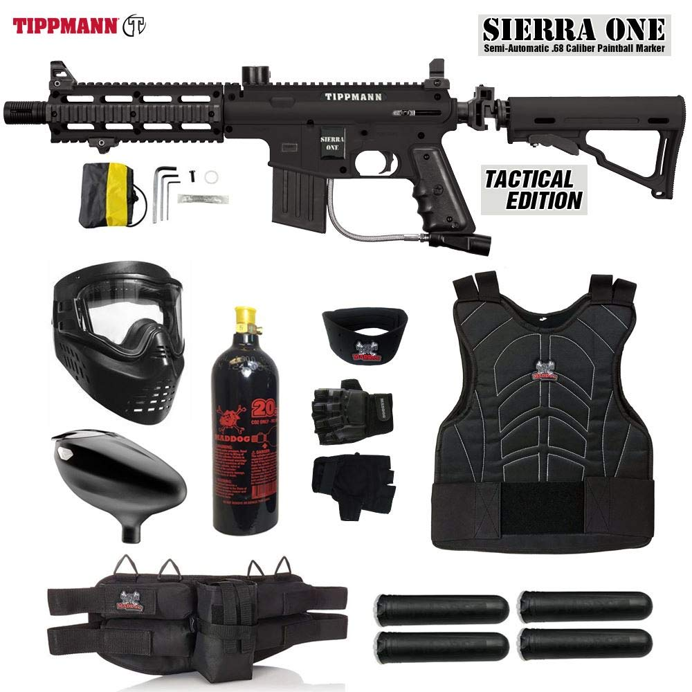 Maddog Tippmann Sierra One Starter Protective CO2 Paintball Gun Package - Black by Maddog