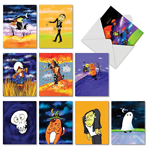 10 Boxed 'Halloween Blowouts' Assorted Happy Halloween Cards (Size 4 x 5.12 inch) w/ Envelopes - Featuring Decorated Seasonal Greeting Notecards - Witches, Skulls, Ghosts for Kids -