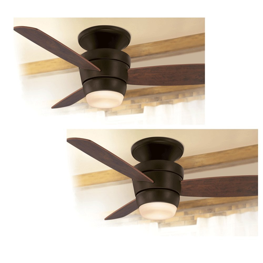Set of 2 harbor breeze platinum series 44 in oil rubbed bronze flush set of 2 harbor breeze platinum series 44 in oil rubbed bronze flush mount ceiling fan with light kit and remote amazon aloadofball Image collections