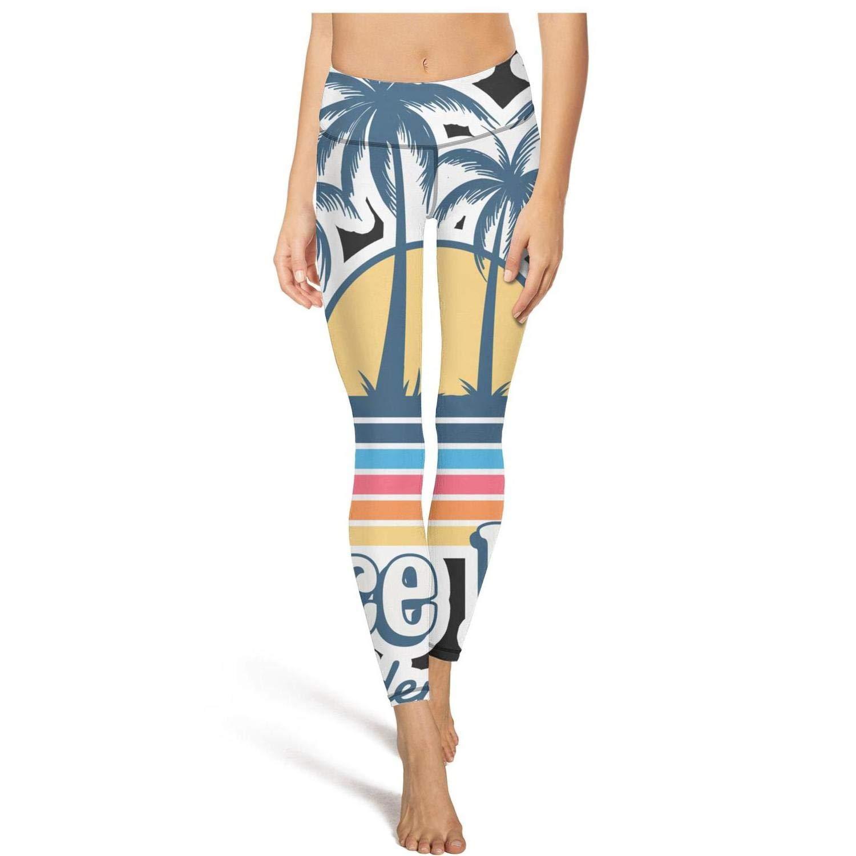 Sunset Beach Palm Trees Sunset Womens Yoga Pants Dress Customized Restorative Yoga Anti-Static