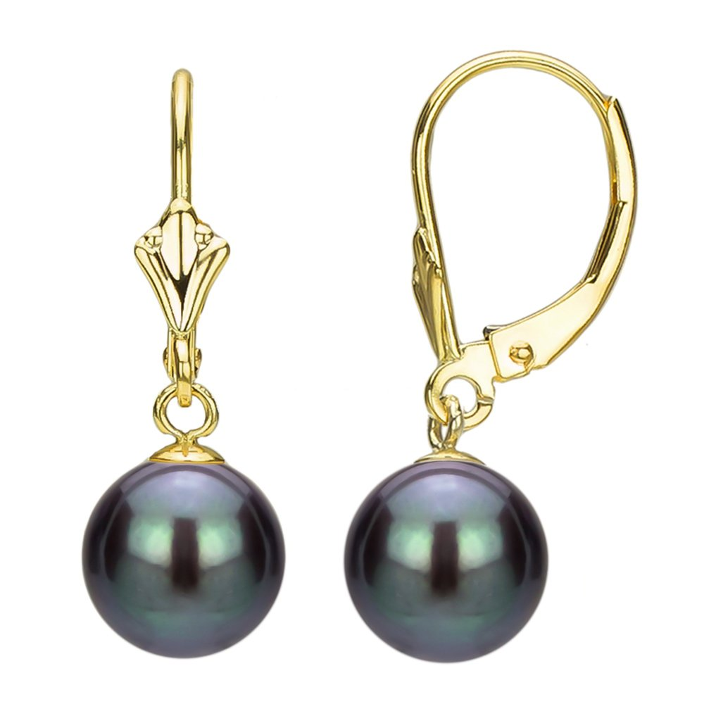 14K Yellow Gold Leverback Dangle Freshwater Cultured Black Pearl Earrings for Women 9-9.5mm