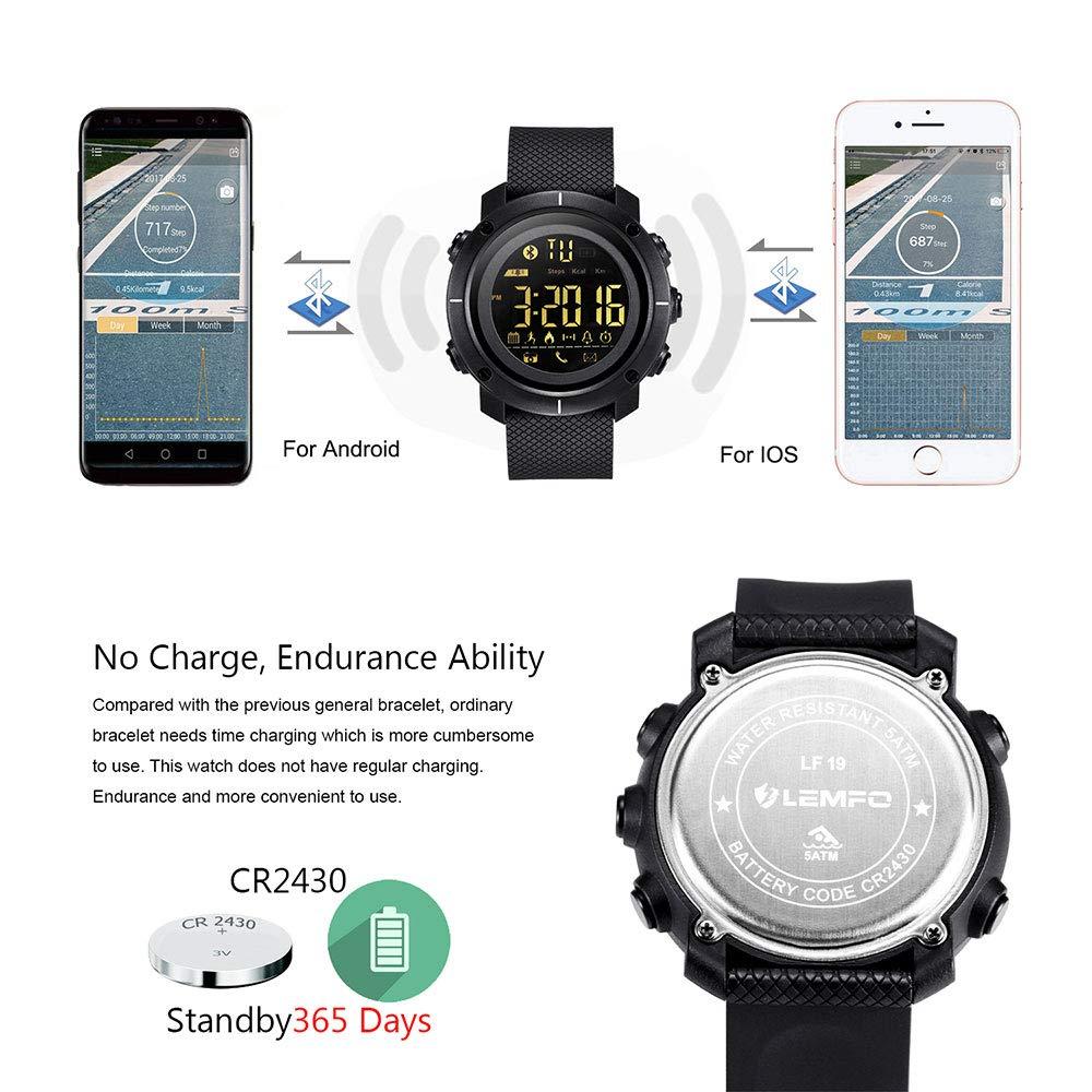 TLgf Reloj Inteligente de Bluetooth, Reloj Corriente con Ritmo ...