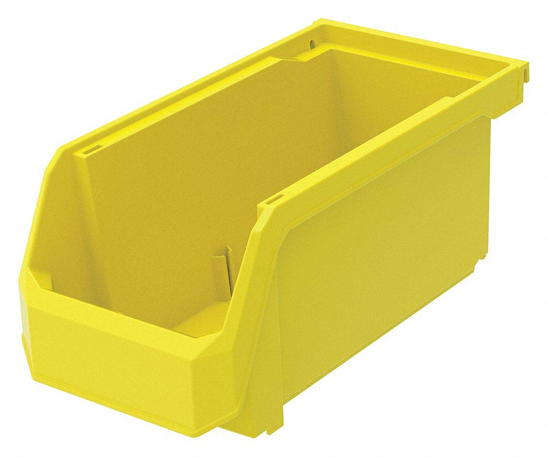 Hang and Stack Bin, Yellow, 11'' Outside Length, 5-1/2'' Outside Width, 5'' Outside Height pack of 5