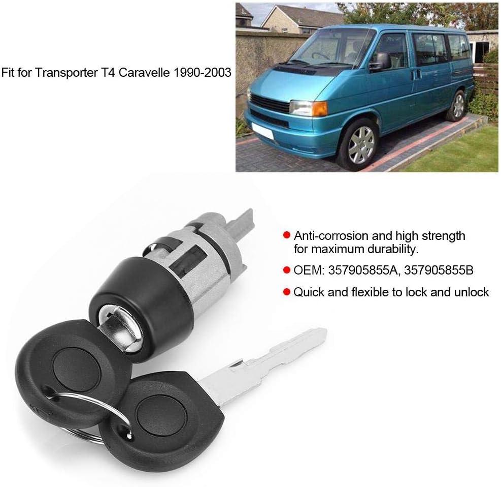 KIMISS Juego de encendido/bloqueo de puerta, cilindro de bloqueo de encendido y ajuste de llave para Transporter T4 Caravelle 1990-2003 357905855A: Amazon.es: Coche y moto
