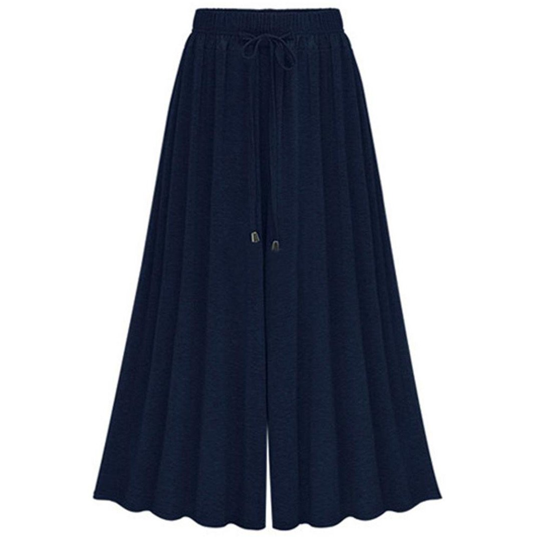 Navy bluee CAKUANTUIKU Fashion Ladies Pants High Waist Loose Cotton Wide Leg Pants