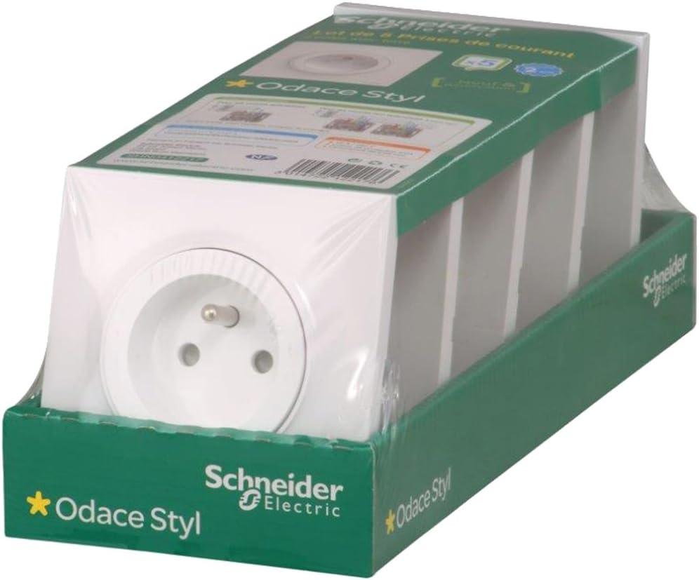 Lot de 5 Prises de courant 2 P/ôles Terre Schneider Electric Odace Styl Blanc