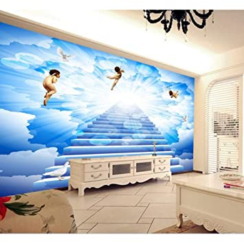 msyiku silk mural 3d wallpaper custom mural 3d room wallpaper angelssilk mural 3d wallpaper custom mural 3d room wallpaper angels send blessing blue sky backdrop photo 3d wall mural wallpaper,300cm*250cm amazon co uk