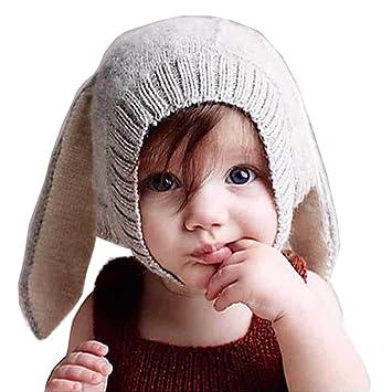 QS_Go Sombrero Babero niño Conejo Sombrero de Punto Unisex para ...