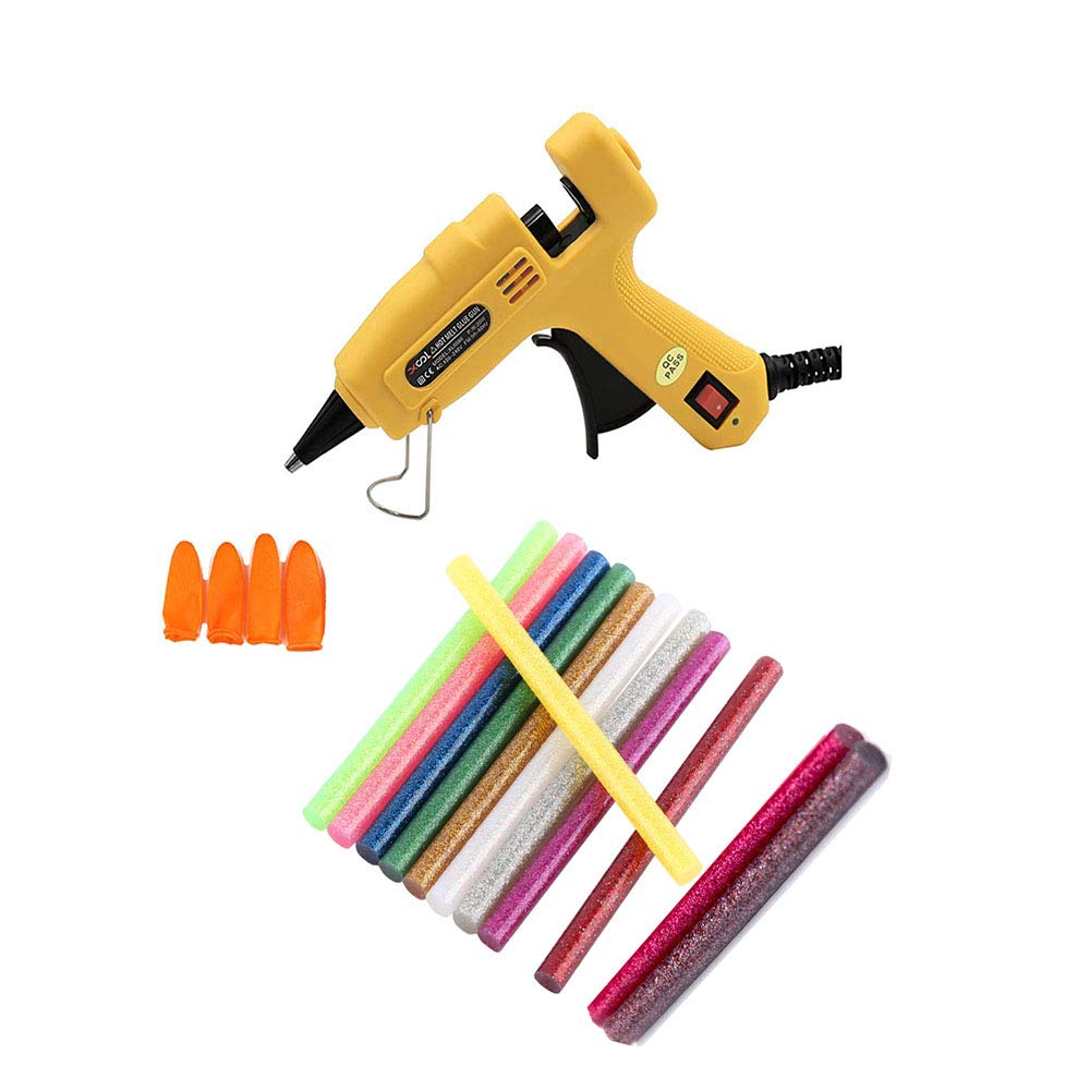 Hot Glue Gun with 5pcs Glue Sticks(12 Different Colors )High Temperature Melting Glue Gun with 4Silicone Finger Protectors Covers Caps for DIY Small Projects,Artistic Creation(20 Watts, Yellow)