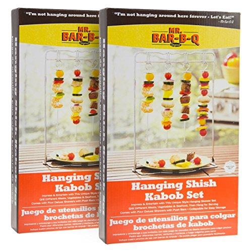 2 Mr. Bar-B-Q Hanging Shish Kabob Skewers Sets Grilling Stand Kebab Barbecue BBQ