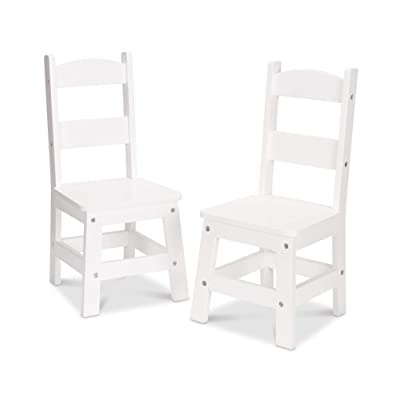 Melissa & Doug Solid Wood Chairs, Chairs for Kids, White-Finish Furniture for a Playroom (Durable Construction, Set of 2, Great Gift for Girls and Boys – Best for 3, 4, 5, 6, 7 and 8 Year Olds): Toys & Games