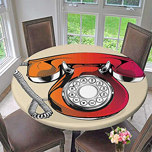 Mikihome Round Premium Table Cloth Illustration of a Classic Retro Telephone with Numbers Decorative Design Print Red and Perfect for Indoor, Outdoor 47.5