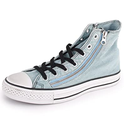 f8c56a5bc0d Converse Chuck Taylor All Star Washed Denim Hi 142209F Unisex Laced   Zip  Denim Trainers Light Blue - 12  Amazon.co.uk  Shoes   Bags