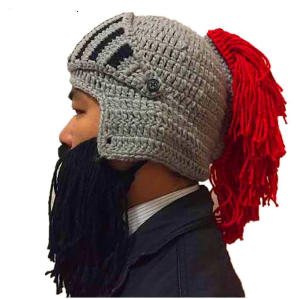 Amazon.com : BIBITIME Cosplay Roman Knight Knitted Helmet with Beard ...